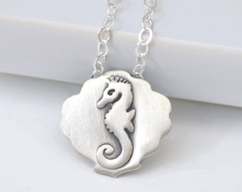 Seahorse and Seashell Necklace - Sterling Silver, Seahorse, Seashell, Pendant, AKD Logo