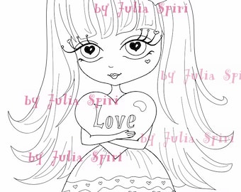 Digital Stamps, Digi stamp, Coloring pages, Valentin stamp, Love stamps, Heart, In Love, Romantic. Love is in the Air Collection. My Heart