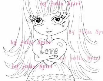 Sellos digitales, Álbum de recortes, Clip art, Dibujo de muñecas, Imagen digital, Scrapbooking, Crafting. Amor esta en el aire. Mi corazón