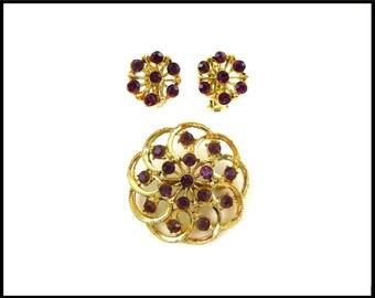 Purple Rhinestone Brooch & Earrings Set, Gold Filigree, Violet Rhinestone Brooch, Purple Earrings, Mother of Bride, Graduation Gift For Her