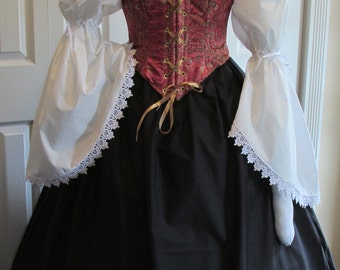 DDNJ Choose Fabrics Reversible Demi Corset Style Bodice Chemise Skirt 3pc Plus Custom Made ANY Size Renaissance Pirate Anime Costume Wench