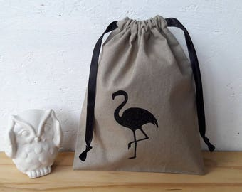 Bag or small XS - taupe and black glittery Flamingo - wool flower