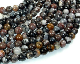 Mexican Black White Zebra Agate, 8mm(8.2mm) Round Beads, 15.5 Inch, Full strand, 49 beads, Hole 1mm, A quality (457054001)