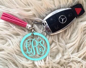 Monogrammed Tassel Key Chain - Monogram Acrylic Key Chain - Custom Key Chain