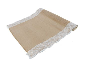 "Natural Burlap With Lace Table Runner 16"" x 88"""