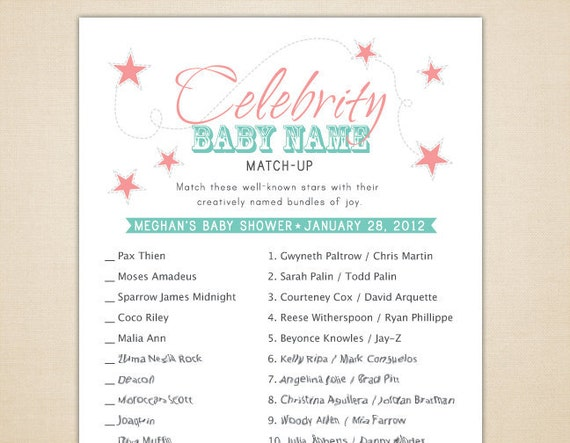 Items similar to Celebrity Baby Name Matching Game for ...