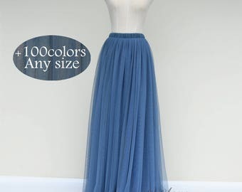 Dusty blue wedding bridesmaid tulle skirt,any size women tulle skirt,custom tulle wedding skirt