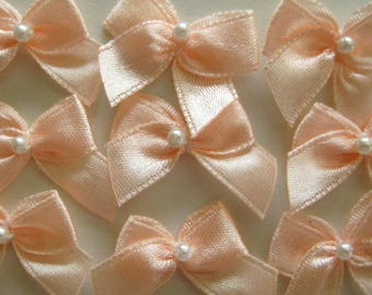 Peach Satin Ribbon Bows with Pearl Center  for Wedding Favors, Crafting, Sewing, Invitation Cards - 1 inch / 25 mm, 30, 50, 100 pieces