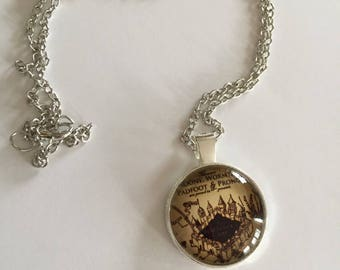 Harry Potter Marauder's Map pendant necklace