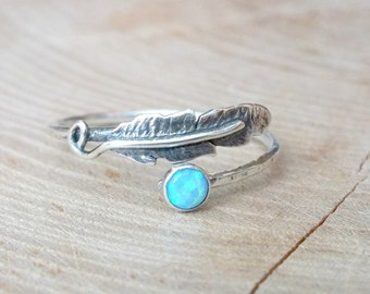 Sterling Silver Feather Stacking Ring, Opal Gemstone Ring, Silver Dainty Ring, Simple Silver Ring, Delicate Ring, Silver Opal Feather Ring