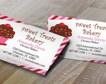 Cake business card etsy diy do it yourself cupcake stripes bakery business card design editable reheart Gallery