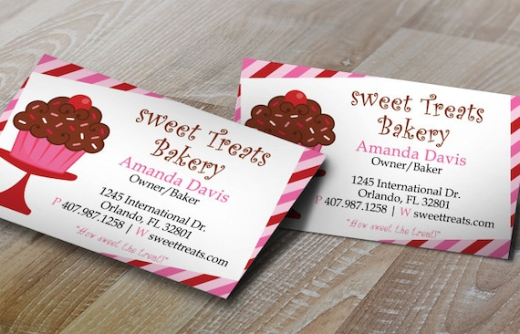 Diy do it yourself cupcake stripes bakery business card reheart Gallery