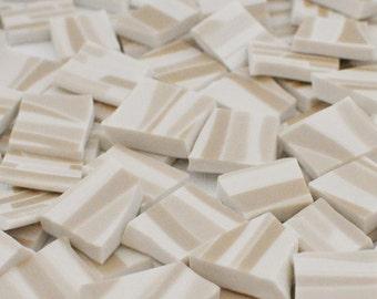 Mosaic Tile Supply - Stripes - Geometric - Cream - Beige - Tan - Set of 100
