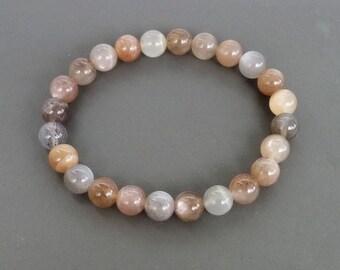 Natural Moonstone Bracelet, Meditation Stretch Bracelet, Genuine Moonstone, Gemstone healing bracelet, buddhist bracelet, beaded bracelet