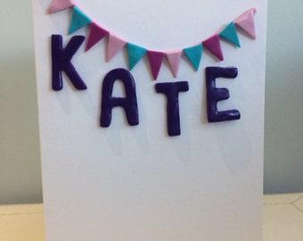 Personalised bunting greetings card