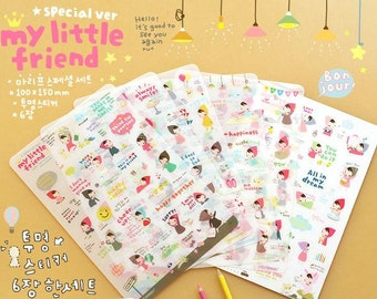 My little friend stickers , red hat girl ( 10x20cmx6 sheets)