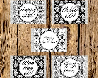 Printable 60th Birthday Black and White Damask Mini Candy Bar Wrappers - Instant Download