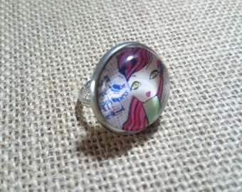 Girl face glass cabochon Adjustable ring