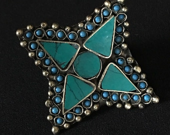 Vintage Kuchi Tribal Star RING TEAL Size 10 Theater Stage Prop Belly Dance Costume Jewelry Uber Kuchi®