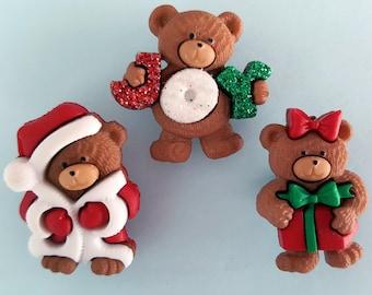 A BEARY MERRY CHRISTMAS - Santa Teddy Bear Joy Novelty Dress It Up Craft Buttons