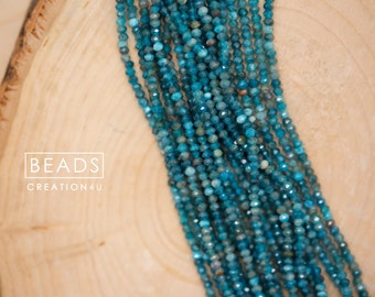 "AA Grade 3mm Natural Blue Apatite Faceted Roundelle Beads, Blue Apatite Semi-precious, Hand cut Apatite beads, 15.5"" Full Strand/ 182 beads"