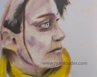 yellow painting, painting prints, face painting, yellow wall art, picture of woman, red and yellow art, red and yellow artwork