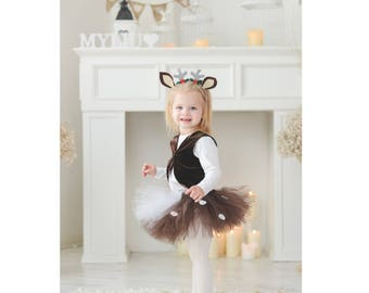 Fawn costume, Forest party, Baby deer, Deer costume, brown skirt, Fawn outfit, Deer outfit, Halloween outfit, Christmas costume baby fawn