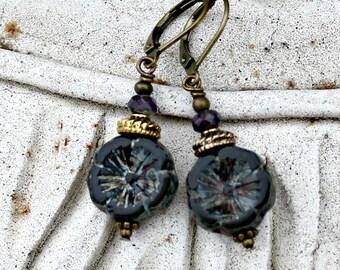 Black Flower Earrings, Bohemian