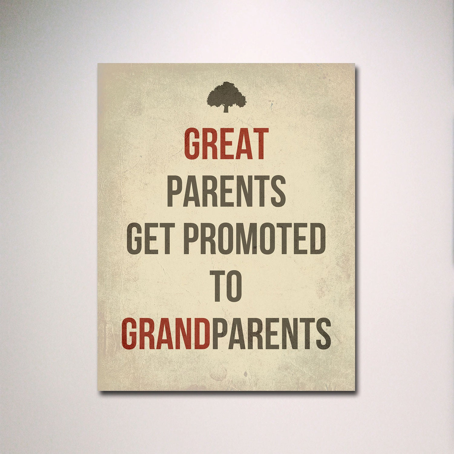 Quotes For New Parents Typography  Great Parents Get Promoted To Grandparents Poster