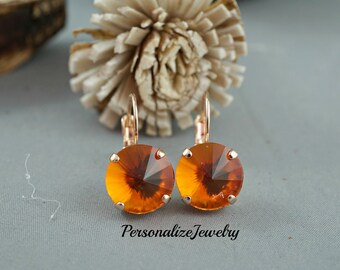 Orange Crystal Earrings Rose Gold Lever Back Earrings Swarovski Crystals Bright Orange Dangle Drop Genuine Swarovski Crystal Holiday Gift