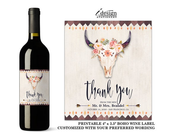 Boho Wedding Wine Label Printable Bridal Party Gifts With