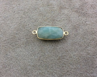 Gold Plated Natural Amazonite Faceted Rectangle/Bar Shaped Copper Bezel Connector - Measures 10mm x 20mm - Sold Individually, Random