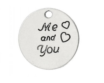 """engraved round charm """"Me and You"""" Silver heart (C27)"""