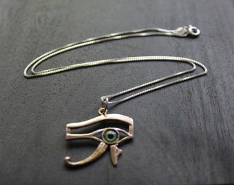 Eye of Horus (Eye made of glass) Egyptian Necklace Sterling Silver