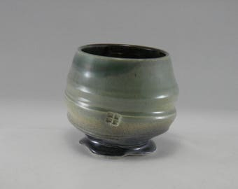 """Handmade Stemless Pottery Wine Goblet, Hand Thrown Porcelain Cup  (3.25"""" h x 3.5"""" belly dia) Capacity 10oz"""