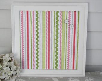 "Pink and Lime Green Magnet Board - 14.5 x 14.5"" Handmade Wood Frame Magnetic Memo Bulletin Board Designer Fabric Nursery, Dorm, or Office"