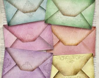 Vintage Envelopes printable paper craft art hobby crafting instant download digital collage sheet