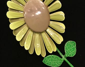"""Sale-Enormous 4""""-Shades of Green Flower Pin Mid-Century Modern (Sale Was 22.00)"""