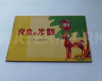 World War II Nara Park Japan book Sika Deer Watercolor EXTREMELY RARE Japanese occupation dated December 16, 1945 * Free Priority shipping!