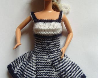 White striped dress: Blue barbie