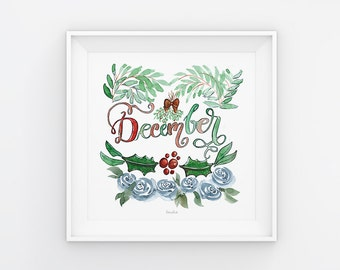 December lettering with watercolor flowers, printing, print, download, print template, printable, 21 x 21 cm, calendar, square, painting, seasonal