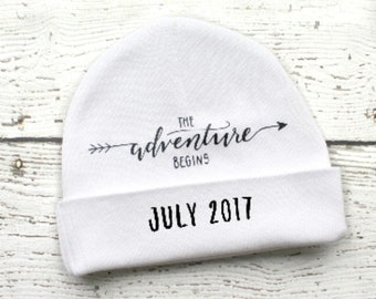 Gender Neutral Pregnancy Reveal Gift, New Grandparent Gift, New Dad Gift,  Personalized Newborn Hospital Hat, Baby Shower Gift