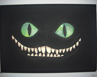 Alice in Wonderland Cheshire Cat mini-painting with glow in the dark eyes and teeth!