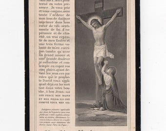 Antique French HOLY Card, Prayer for,  Dated 1919, religious, pious,