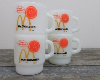 McDonald's Mugs, Milk Glass Coffee Mugs, Anchor Hocking Fire King, Advertising Collectible, Kitschy Kitchen Decor