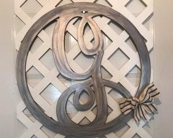 Monogram Door Wreath - Door Hanger - Door Wreath - Monogram Wedding Gift - Monogram Home Decor - Rustic Home Decor - Rustic Wedding Decor- G