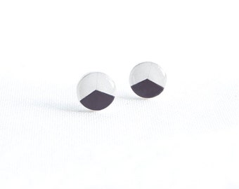 Black white stud earrings geometric post earrings hypoallergenic studs casual stud earrings surgical steel