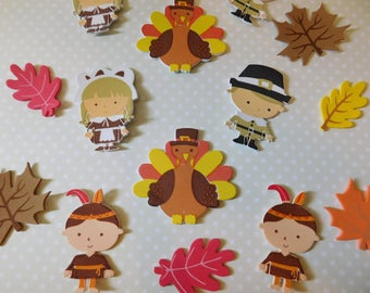 Thanksgiving and Autumn or Fall Theme Styrofoam Stickers - Pilgrims, Turkeys, Native Americans, Leaves