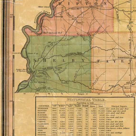 Map of Tennessee 1832 Vintage Tennessee map 4 sizes up to 9