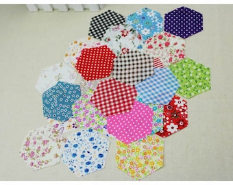 100 PCS, 3.8 cm Fresh Style Thin Cotton Small Fabric Pieces for Quilting Patchwork [Random Pattern]